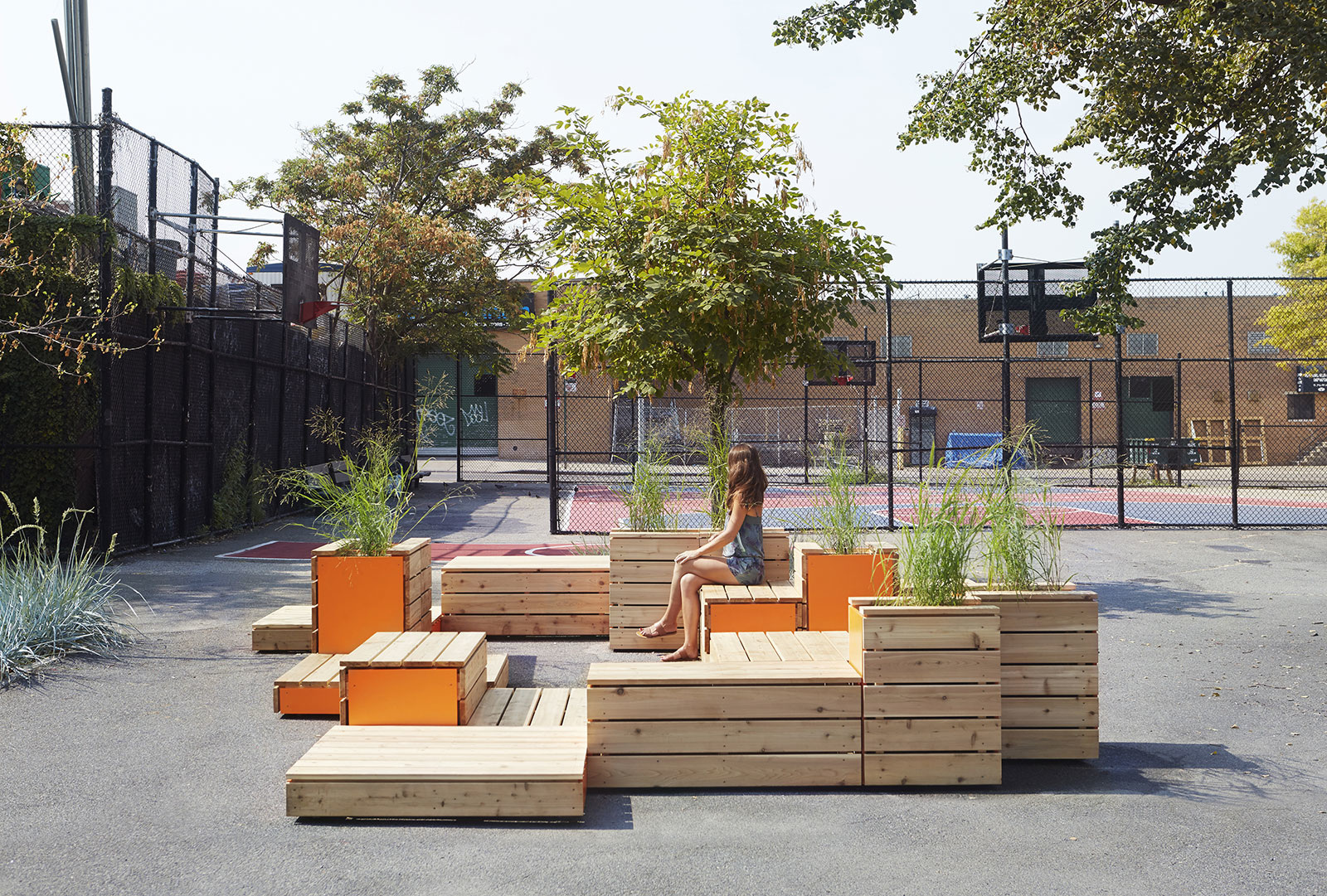 Untitled Benches Patios Planters In Arrangement For